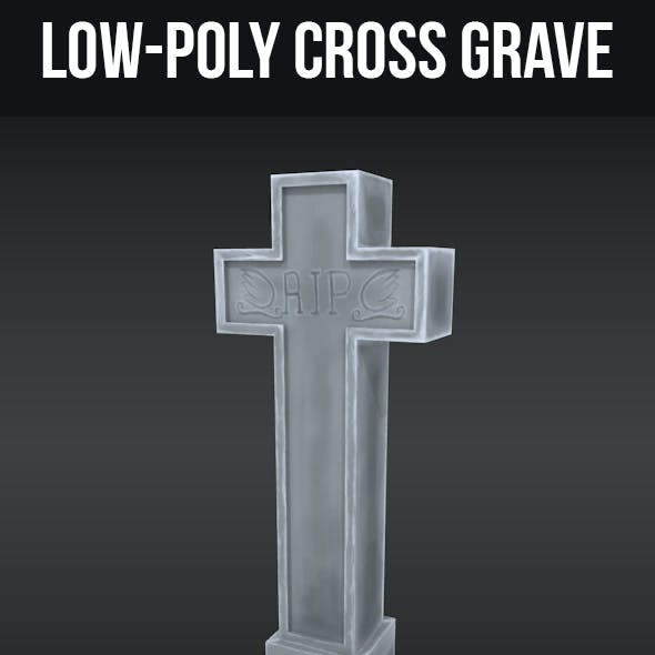 Low-Poly Grave Stone Cross