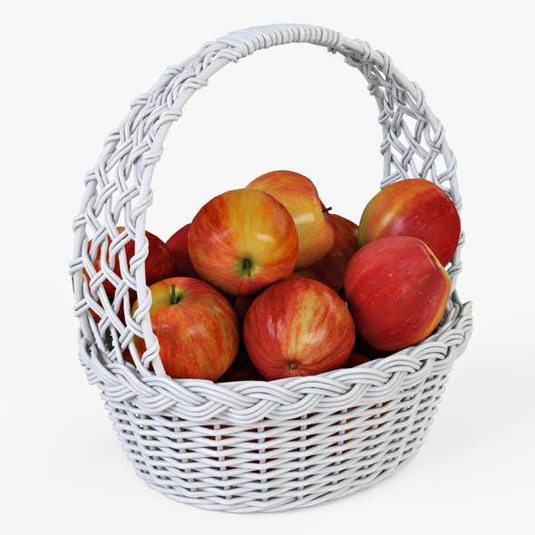 Wicker Basket 04 (White Color) with Apples - 3DOcean Item for Sale