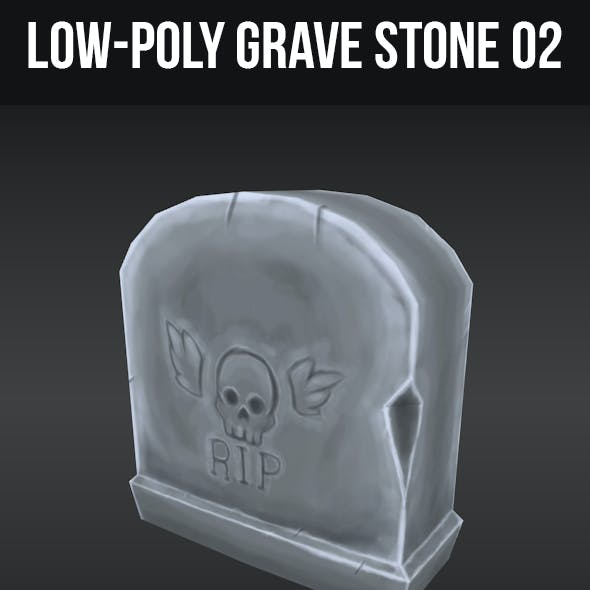 Low-Poly Grave Stone 02