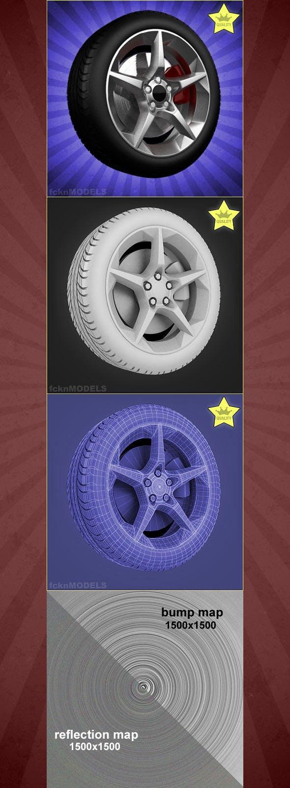 High detailed 3D model of car wheel - 3DOcean Item for Sale