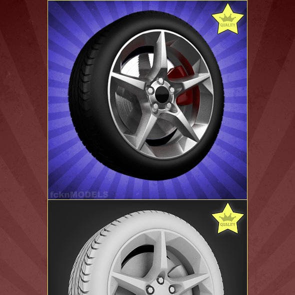 High detailed 3D model of car wheel