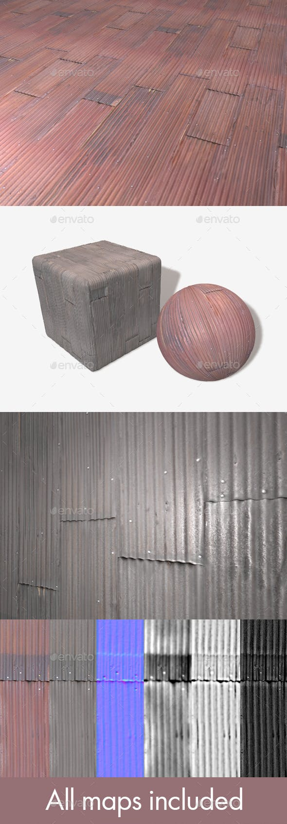 2 Rusty Corrugated Metal Panels Seamless Texture - 3DOcean Item for Sale