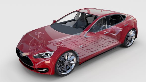 Tesla Model S with chassis-interior rev - 3DOcean Item for Sale