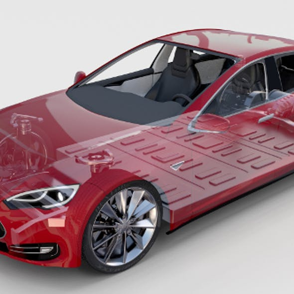 Tesla Model S with chassis-interior rev