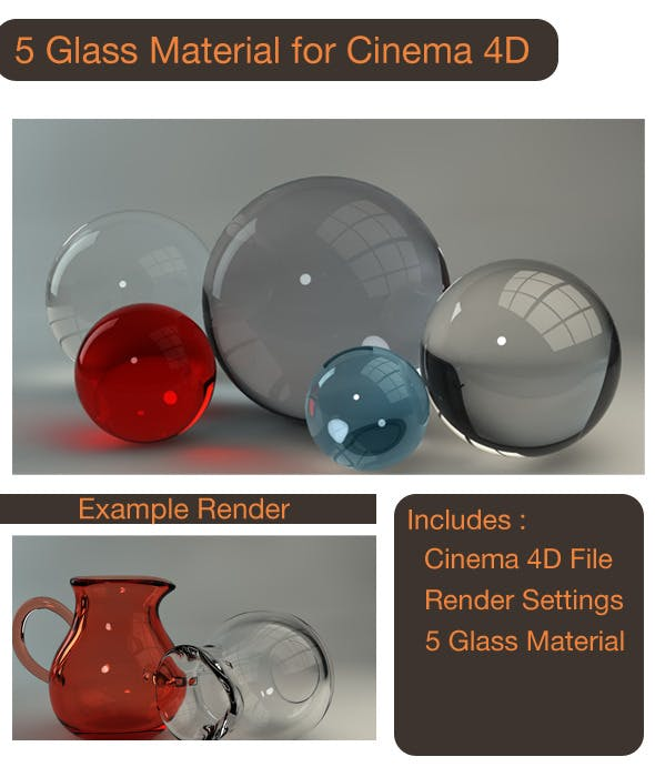 5 Glass Material for C4D - 3DOcean Item for Sale