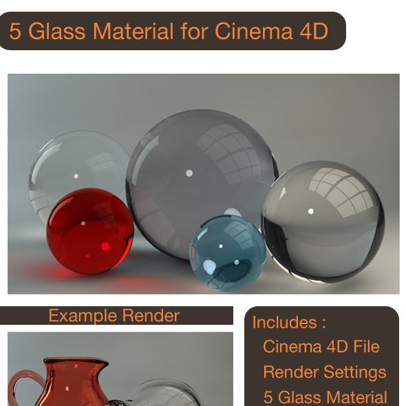 5 Glass Material for C4D