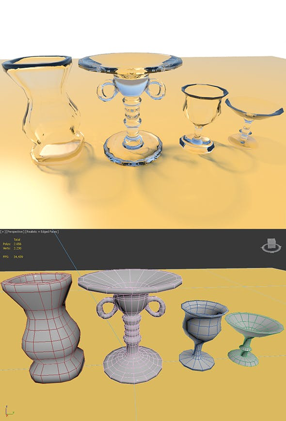 Low Poly Glass Set - 3DOcean Item for Sale
