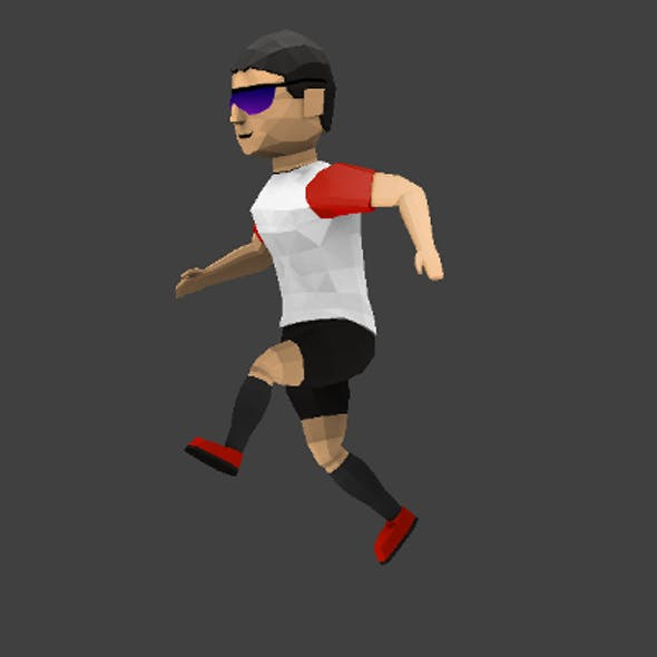 Low poly runner character including UV map and rig
