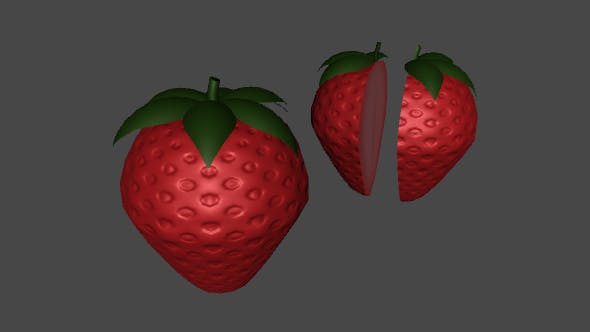 Low Poly Strawberry For Games - 3DOcean Item for Sale