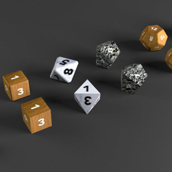 6+6 RPG D&D dice set/collection (UV Mapped, Textured)