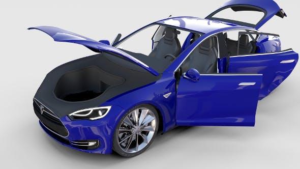 Tesla Model S with interior rev - 3DOcean Item for Sale
