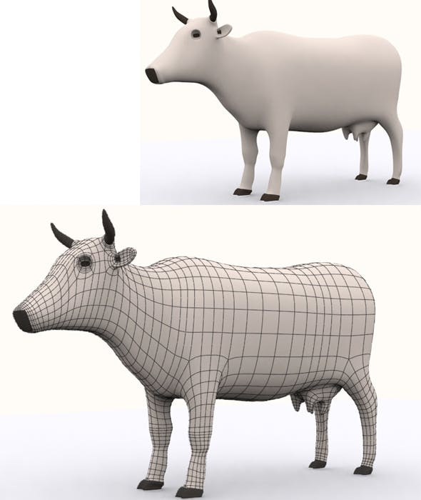 High Poly Cow Model - 3DOcean Item for Sale