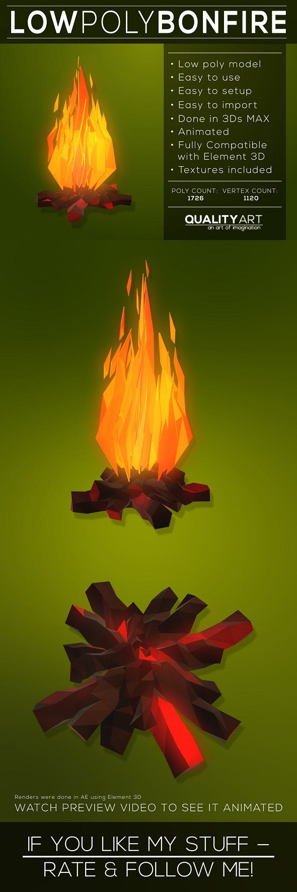 Low Poly Bonfire - 3DOcean Item for Sale