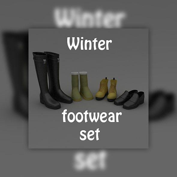 Footwear Set Winter - 3DOcean Item for Sale