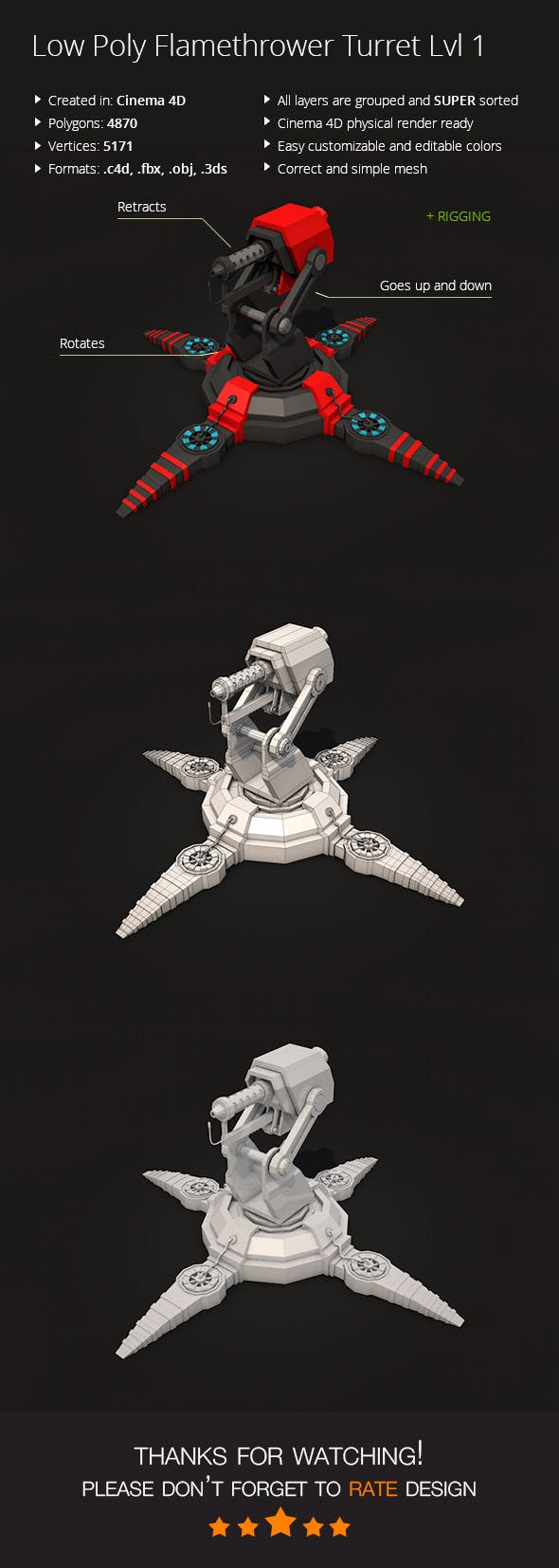 Low Poly Flamethrower Turret Lvl 1 - 3DOcean Item for Sale