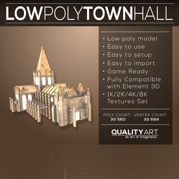 Low Poly Town Hall - Realistic Models Pack