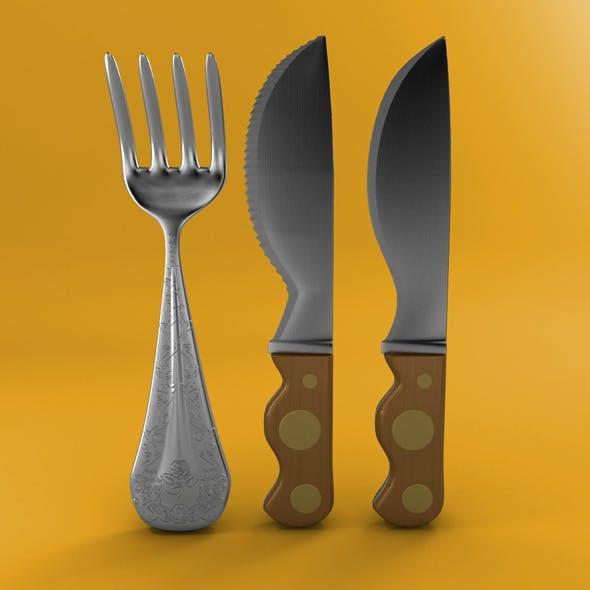 Cartoon - Fork - Knife - Toothed Knife