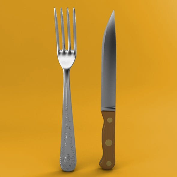 Fork and Wood Handle Knife