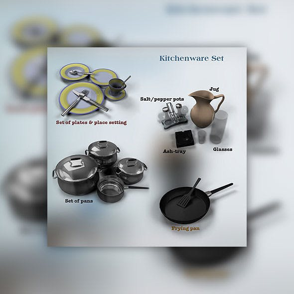 KitchenWare set - 3DOcean Item for Sale