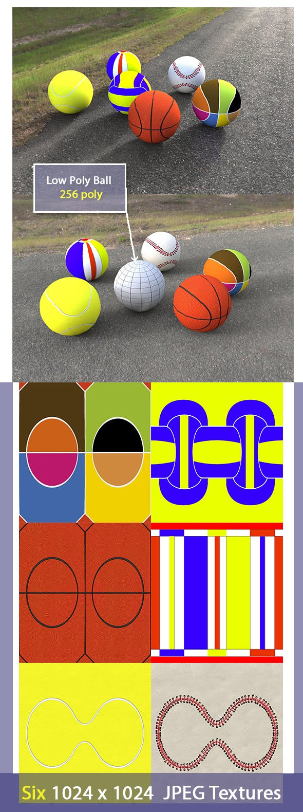 Low Poly Game Balls - 3DOcean Item for Sale