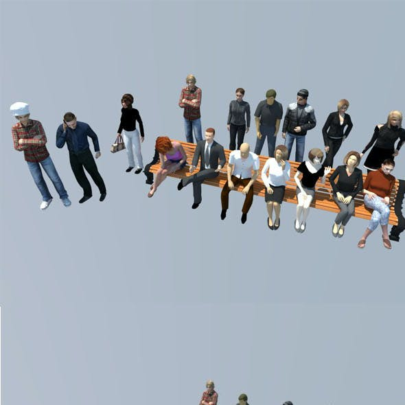 16 LOW POLY people