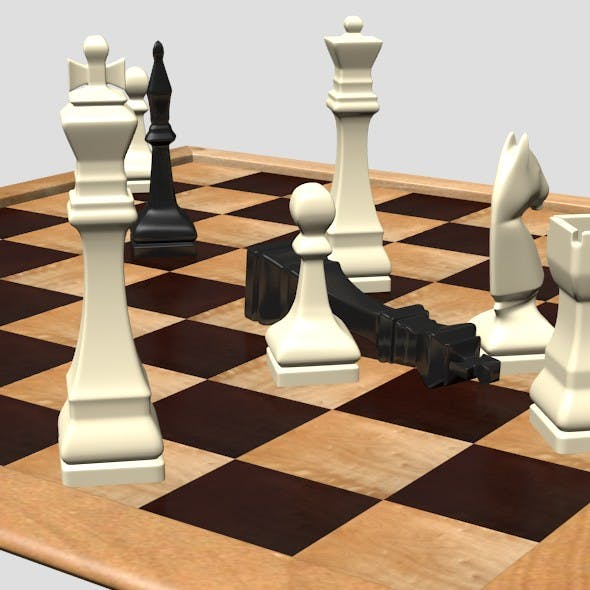 Chess Board and Chessmen - 3DOcean Item for Sale