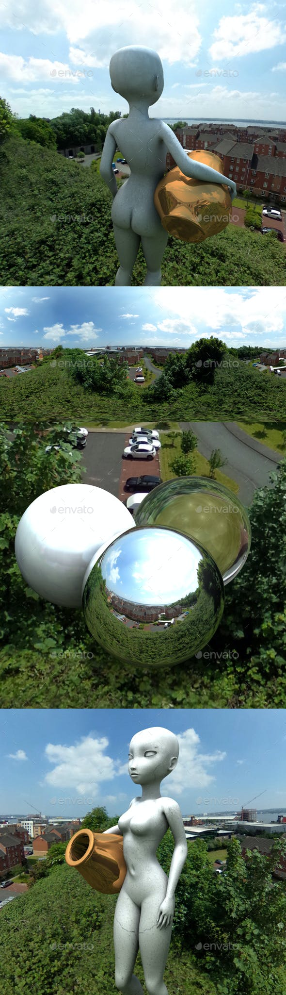 Sunny Treetop Town Overlook HDRI - 3DOcean Item for Sale