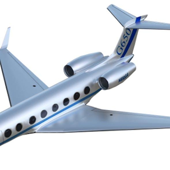 Gulfstream G650 business jet (PBR, uv-textured)