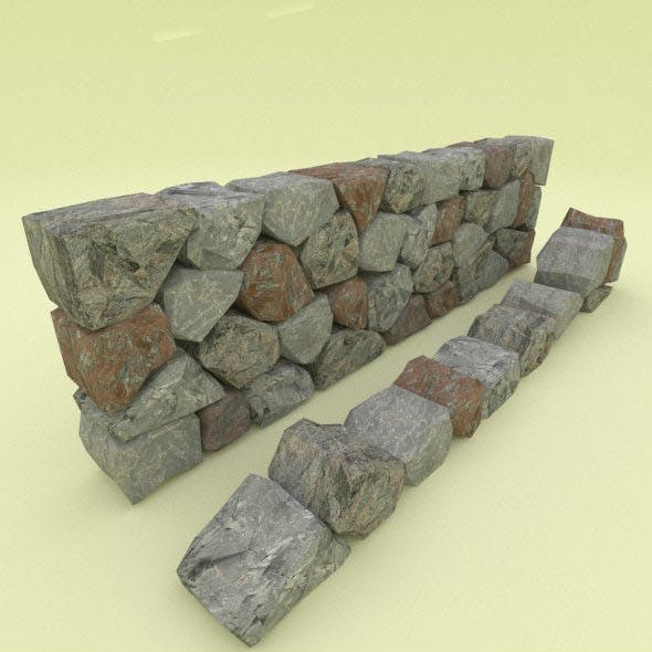 Low Poly Stone Wall Segment