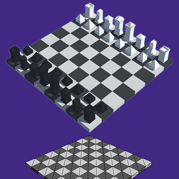 Low-poly chess and checkers