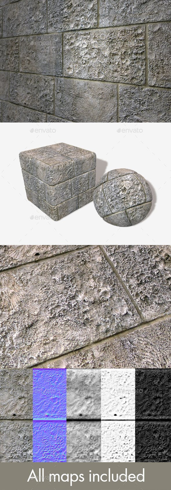 Fossil Printed Bricks Seamless Texture - 3DOcean Item for Sale