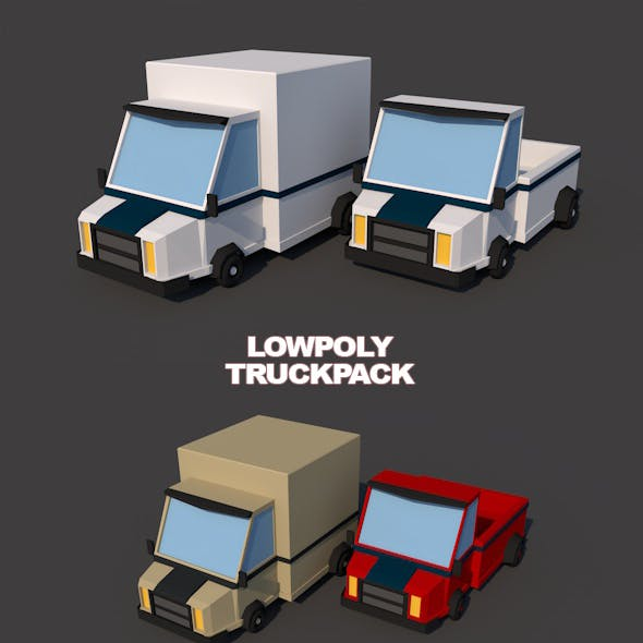Low poly van and truck combo