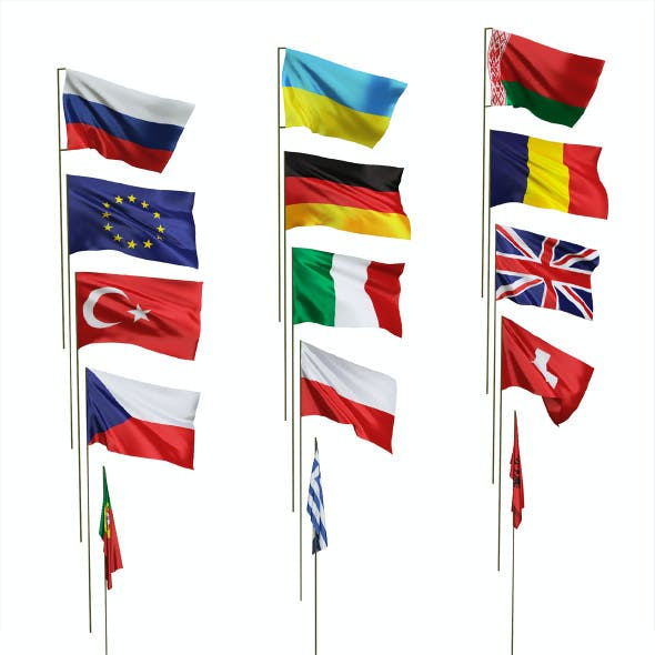 Flags of different countries. 15 items. 48 maps
