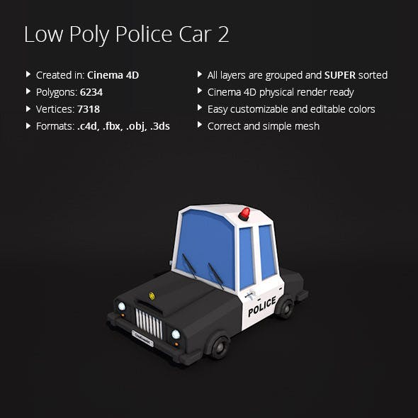 Low Poly Police Car 2