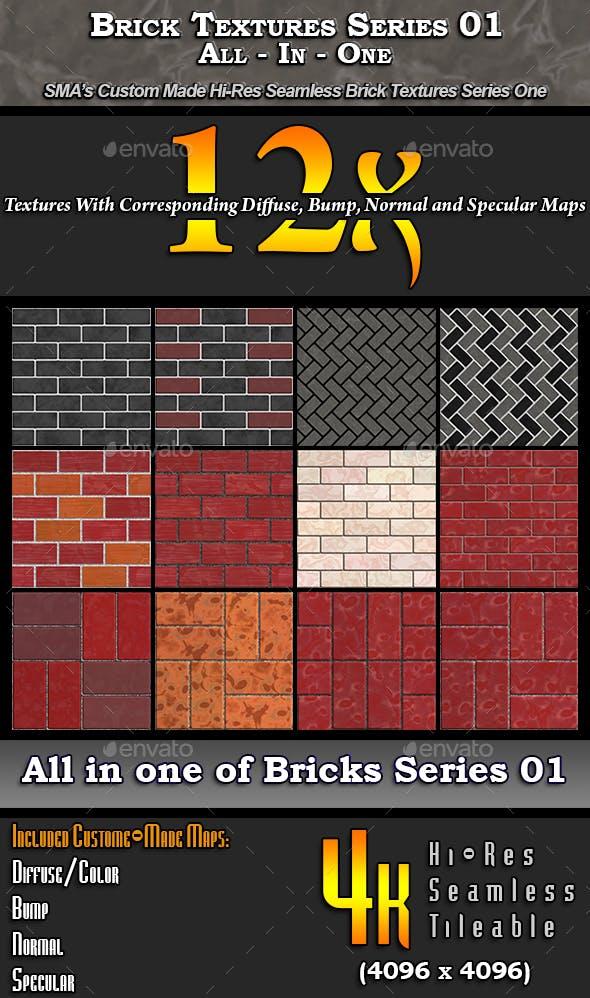 Hi-Res Brick Textures - S01 - AIO - 3DOcean Item for Sale