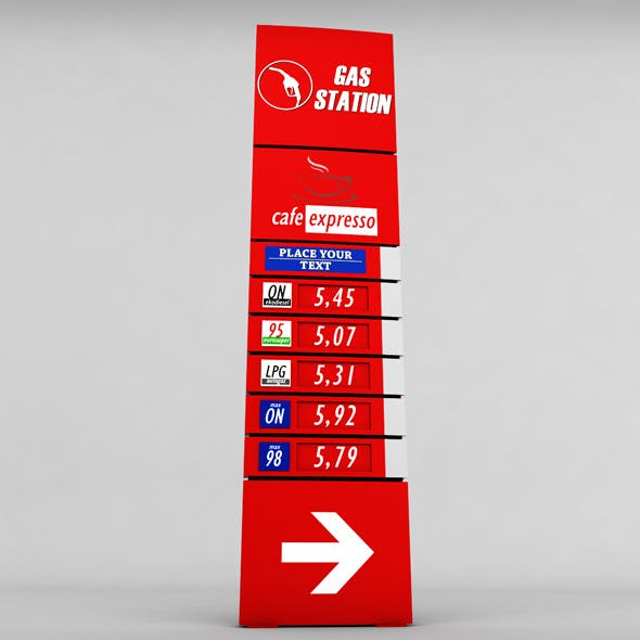 Gas station price sign totem low poly 02