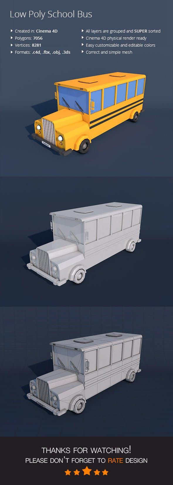Low Poly School Bus - 3DOcean Item for Sale