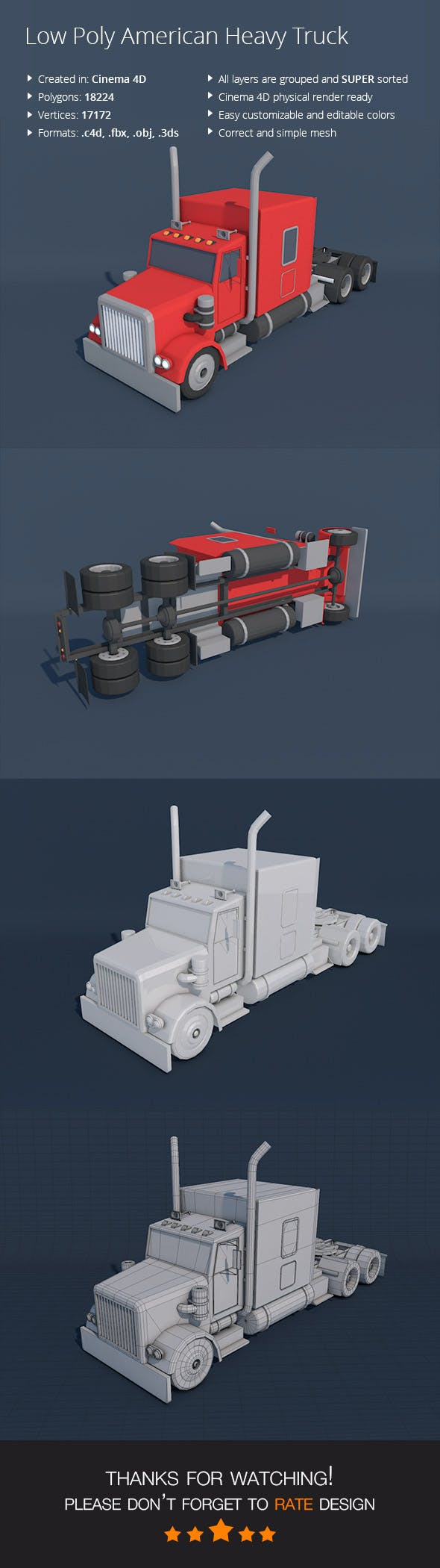 Low Poly American Heavy Truck - 3DOcean Item for Sale