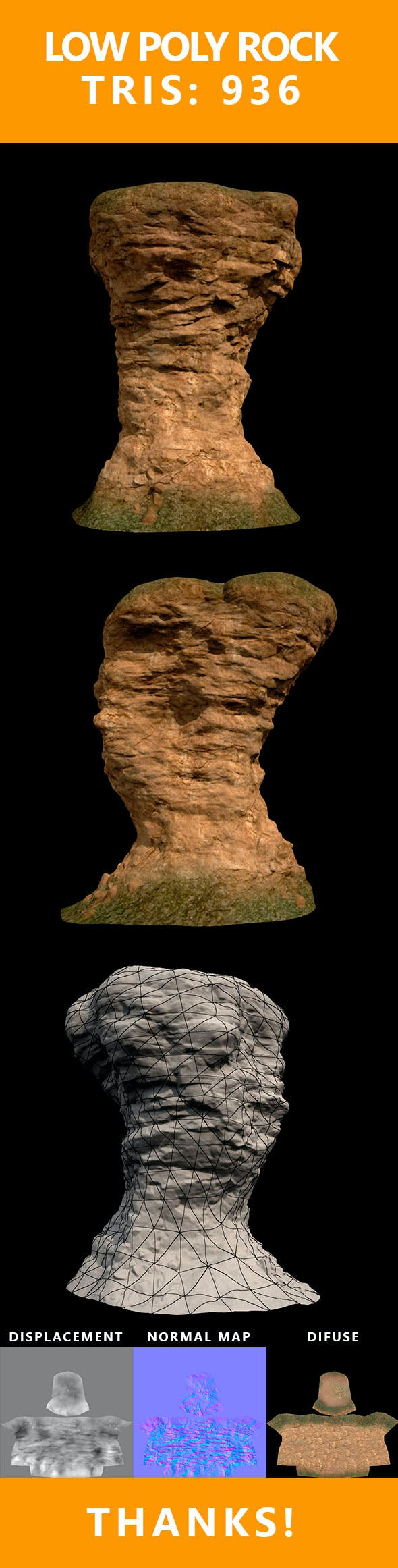 Low Poly Realistic Rock - 3DOcean Item for Sale