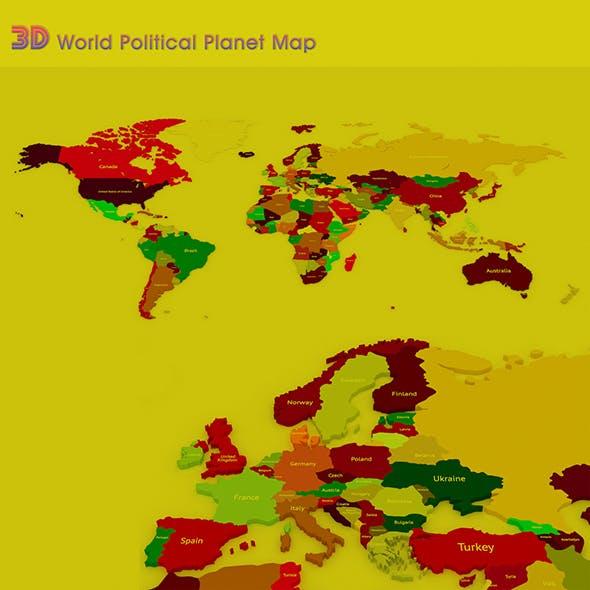 3D World Political Planet Map