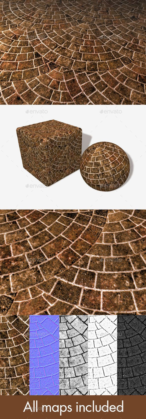 Brick Paving Circle Seamless Texture - 3DOcean Item for Sale