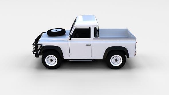 Land Rover Defender 90 Pick Up w interior rev - 3DOcean Item for Sale