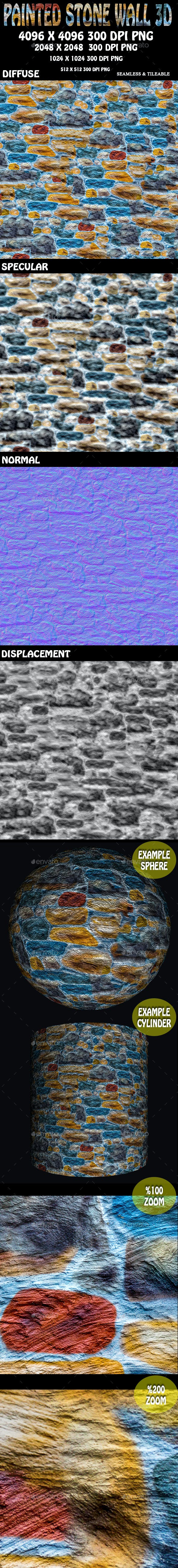 Painted Stone Wall 3D Texture - 3DOcean Item for Sale