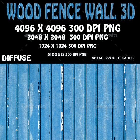 Wood Fence Wall 3D