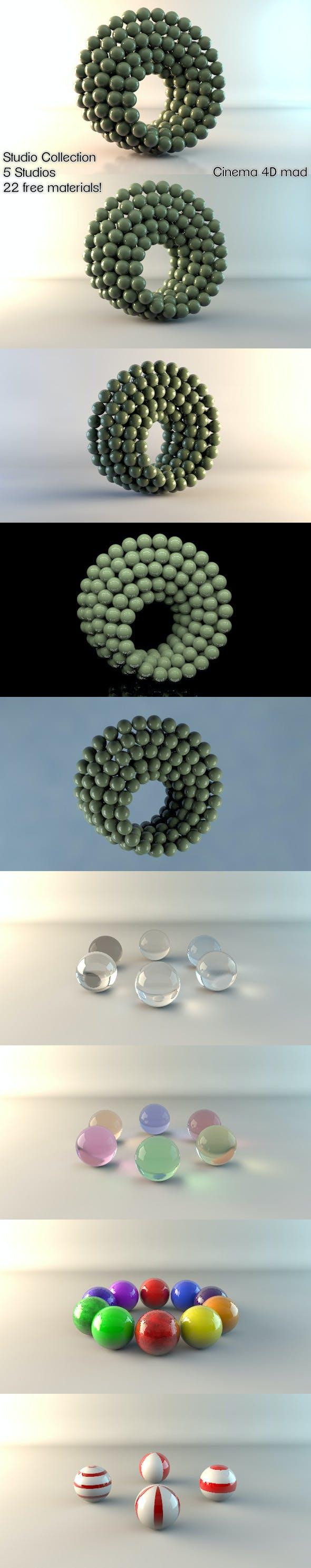 5 Studios & 22 Materials C4D - 3DOcean Item for Sale