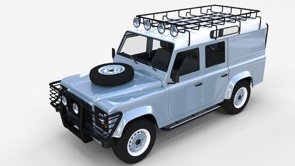 Land Rover Defender 110 Utility Station Wagon w interior rev - 3DOcean Item for Sale