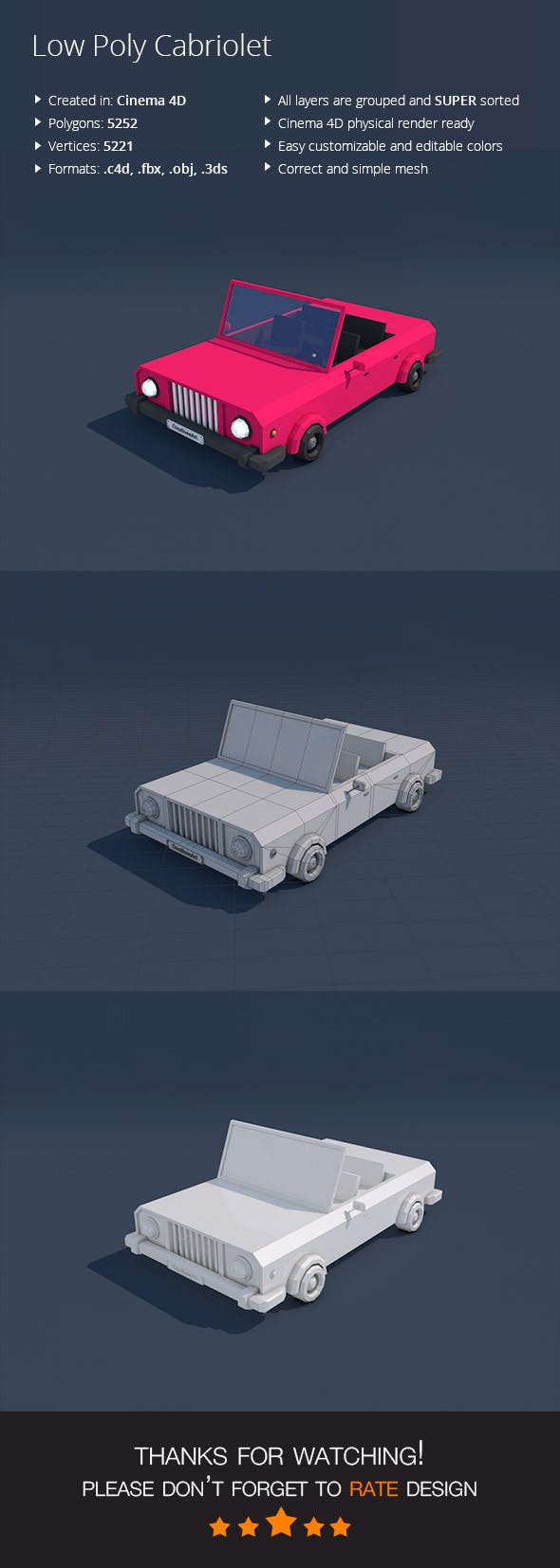 Low Poly Cabriolet Car - 3DOcean Item for Sale