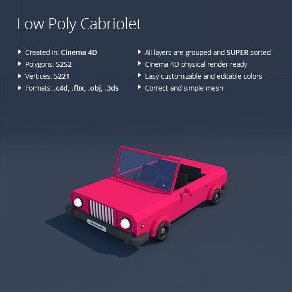 Low Poly Cabriolet Car