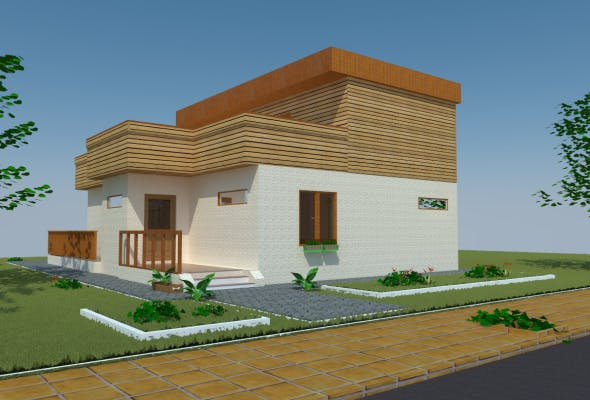 Passive 3D Wood House - 3DOcean Item for Sale