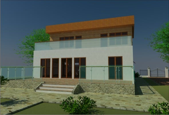 3D House Flat Roof - 3DOcean Item for Sale